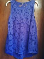 ladies George size 12 sleeveless/vest top- blue floral patterned -loose fit-used