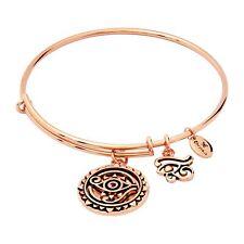 """Chrysalis 14K Rose Gold-Flashed Brass Expandable Eye of Horus Bangle, 7-8.5"""""""