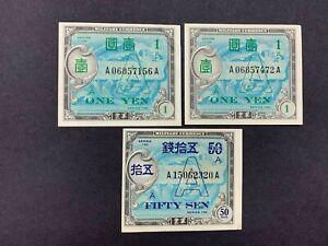 "JAPAN (3 Notes)  50 Sen / 1 Yen 1946   ""A"" underprint    AMC  -- CRISP!!"