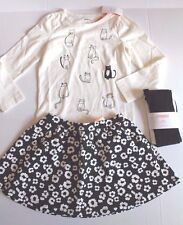 Gymboree City Kitty Black & Ivory Skirt , Cat Shirt & Tights Outfit Girl Size 5