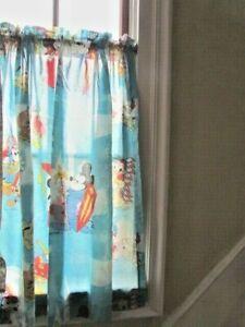 "Blue VTG Walt Disney Productions Mickey Mouse Tier Curtains 2 Panels 38""w x 34""L"