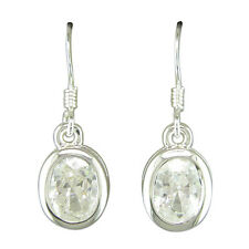 Pair of drop silver earrings with oval shaped cubic zirconia in gift box