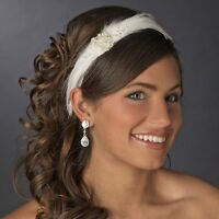 Feather Pearl Rhinestone Bridal Wedding Headband Hair Accessory White or Ivory