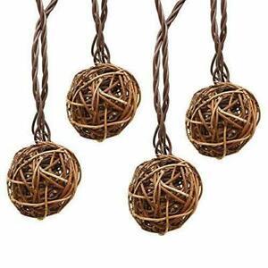 LIDORE 10 Counts Brown Rattan Balls String Light. Warm White Light Brown Cord