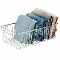 mDesign Wide Metal Drawer Organizer Storage Basket for Closets - Chrome