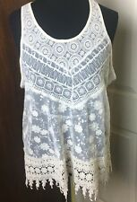 Haute Monde Womens White Lace Crochet Fringe Sleeveless Festival Tank -Size M