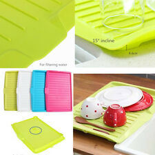 Plastic Dish Drainer Tray Large Sink Drying Rack Worktop Dish Drainer 4 Colors