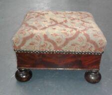 "Footstool American Empire Revival Crotch Mahogany 12"" x 12"" Mid 1800s"