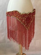 Vintage Belly Dance Beaded Belt Hip Scarf Dancing Costume Large Red Gold