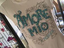 Top Haut T-shirt Morgan Blanc Paillettes Bleus ajourée Dos Nu S