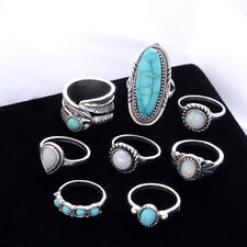 8Pcs/Set Bohemian Silver Ring Set Turquoise Gem Knuckle Rings Gift for Women New