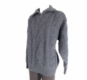 Aran Crafts Strick Pullover Gr. XXL - Dunkelgrau Grau - 100% Wolle -ST3526