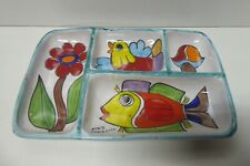 VINTAGE NINO PARRUCCA ITALY POTTERY HAND PAINTED PLATE SERVING TRAY PLATTER