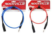 2 Rockville 3' Male REAN XLR to 1/4'' TRS Balanced Cable (Red and Blue)