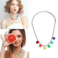 Damen Halskette Kette Herz-förmigen Silber Halskette Schmuck für Frauen D6J6