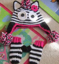 Girls handmade toddler 2t 3t 4t Zebra crochet custom boutique hat mittens Zebra