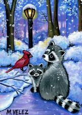 Raccoon Cardinal Bird Snow Path Winter Santa's Songbird Original ACEO Print