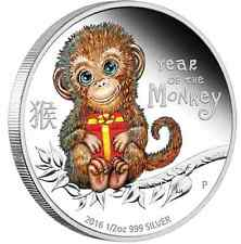 2016 Tuvalu BABY MONKEY 1/2 oz SIlver Proof 50c Coin Lunar Year Colorized