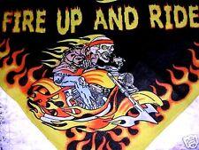 RIDER FIRE UP & RIDE DETAILED SKELETON BIKER DUDE MOTORCYCLE BANDANA HANKERCHIEF