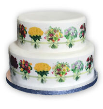 Decor Icing Sheet Edible Floral Flower Bouquet Border Cake Topper Decoration