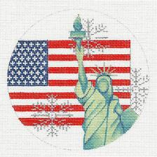 United States  USA with Flag & Statue of Liberty HP Needlepoint Canvas by Trubey