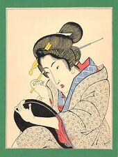 Dessin encre de chine & aquarelle Japon Hand made china ink signé Geneviève n33