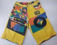 Mon Wicked Multi Color patches Jamaican Style Shorts Men's Size 32 Tag 36