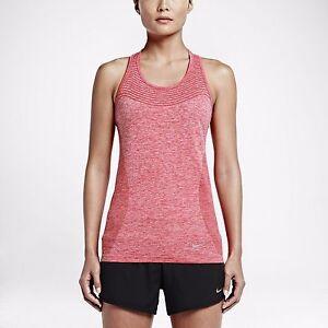 New NIKE Dri-FIT Knit Women's Running Tank Top Lt Crimson/Heather 718567-696