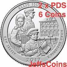 2x 2017 P&D&S Ellis Island NJ NY National  Park Quarter 6x Mint PDS ATB Low Cost