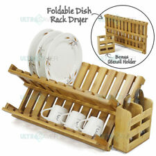 Foldable Bamboo Dish Drying Rack Plate Cup Drainer Tray + Utensil Cutlery Holder