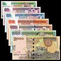 SRI LANKA BANKNOTE SET 7 PCS, 10 20 50 100 500 1000 2000 Rupees, P-115-121,UNC