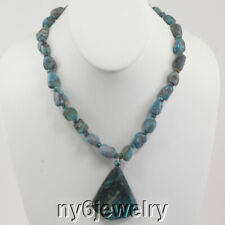 """Silver 20"""" Necklace Women Jewelry Natural Turquoise & Large Pendant"""
