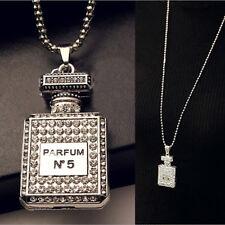 Top Perfume Bottle Pendant Necklace For Women Rhinestones Jewelry Chain Decor .*