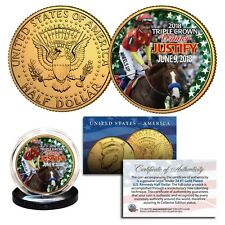 Justify 2018 Triple Crown Horse 24K Gold Jfk Half Dollar Coin - Rare Test Issue
