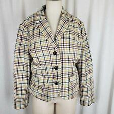 LL Bean Wool Herringbone Checked Tweed Riding Country Jacket Blazer Womens 12P