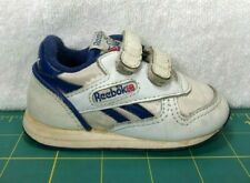 Vintage Reebok Classic Toddler Club White Leather Strapped Shoes Sneakers~Size 3