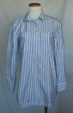 d7f6e098ccced Athleta Long Lean Striped Shirt XS Blue White Cotton Button Down T19