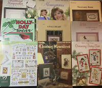 Lot Of 9 Various Cross Stitch Pattern Leaflets- Christmas, Wedding, Baby, Floral
