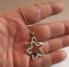 925 SILVER SILVER DOUBLE STAR PENDANT NECKLACE W/2 CT ACCENTS/18''