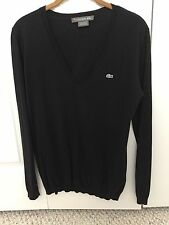 LACOSTE LIGHT WEIGHT V NECK PULLOVER SWEATER BLACK SILK/COTTON SIZE 38 SMALL