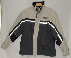 SPYDER Men's Beige Black Color-block Hooded Insulated Ski Jacket Size Large