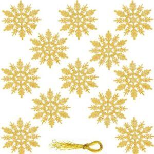12x SNOWFLAKES CHRISTMAS TREE DECORATIONS DECORATION BAUBLES GLITTER HANG XMASHM
