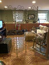 """Room divider, metal, ivory, 3 x 18"""" folding panels, 74"""" H, basket weave/leaves"""