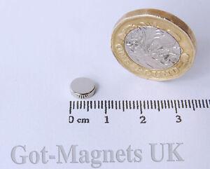 7x2mm  (N52) Neodymium Magnet 7mm dia x 2mm Disc (various pack sizes)
