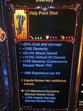 DIABLO 3 PRIMAL ANCIENT HOLY POINT SHOT GENUINE QUIVER PATCH 2.6.1 XBOX ONE
