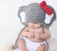 Baby Animal Elephant Bowknot Photo Prop Crochet Knitted Wool Hat Cap Newborn-12M