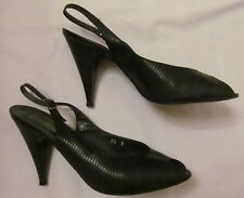 vintage 50's ANDREW GELLER black and gray striped slingback peep toe shoes 7.5 *