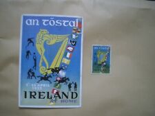 """IRELAND FIRST DAY COVER POSTCARD """"AN TOSTAL"""" 1953 AND LABEL"""