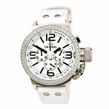 TW Steel Men's Watch Canteen Diamond Chronograph White Dial Leather Strap TW10