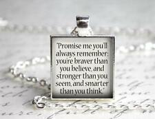 Winnie the Pooh Promise Me You Will Remember Quote Key Chain Charm Pendant Gift